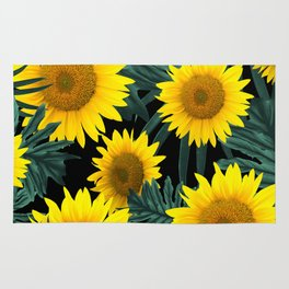 Tropical Sunflower Jungle Night Leaves Pattern #1 #tropical #decor #art #society6 Rug