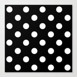 Polkadot (White & Black Pattern) Canvas Print