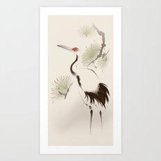 Oriental Red-Crowned Crane 002 Art Print