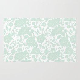 Vintage elegant pastel green white stylish floral Rug