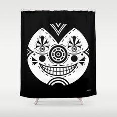 Priest Circle- black on black Shower Curtain