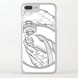 Hand Holding Statue of Liberty Torch Drawing Black and White Clear iPhone Case