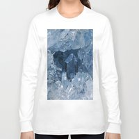 minerals Long Sleeve T-shirts featuring Blue Gemstone by Kristiana Art Prints
