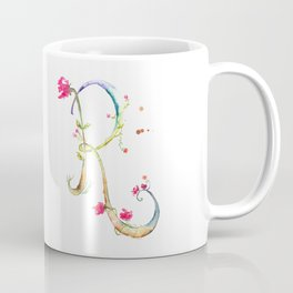 Letter R watercolor - Watercolor Monogram - Watercolor typography - Floral lettering Coffee Mug