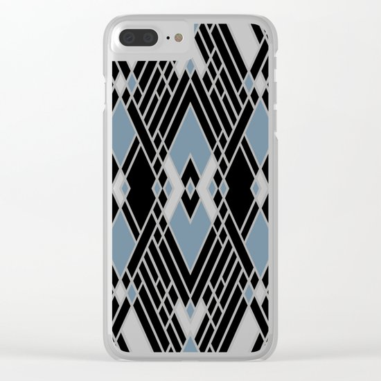 Art Deco Zoom Blue Clear iPhone Case