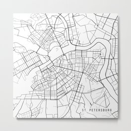 St Petersburg Map, Russia - Black and White Metal Print