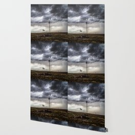No Man's Land - Windmill on Stormy Day in Oklahoma Panhandle Wallpaper