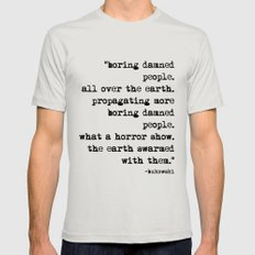 Charles Bukowski Typewriter Quote People X-LARGE Silver Mens Fitted Tee