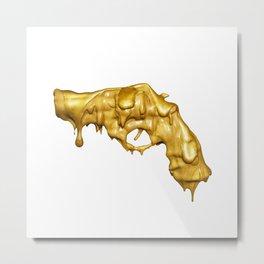 BLOODY GOLD GUN Metal Print