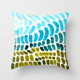 Complementary colors Blue Green Watercolor Natural Pattern Colorful Mid Century Modern Art Throw Pillow