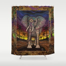 Elephant Sunset by Julie Oakes Shower Curtain