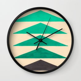 Colorful Turquoise Green Geometric Pattern with Black Accent Wall Clock