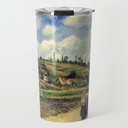 "Camille Pissarro ""Landscape near Pontoise, the Auvers Road"" Travel Mug"