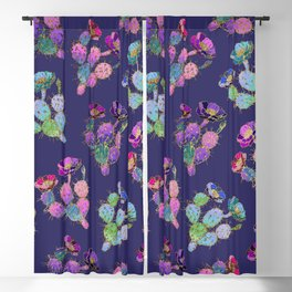 Modern watercolor pink lilac purple gold cactus floral Blackout Curtain