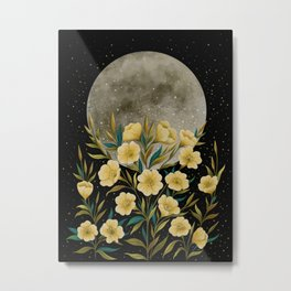 Greeting the Moon - Evening Primrose Metal Print