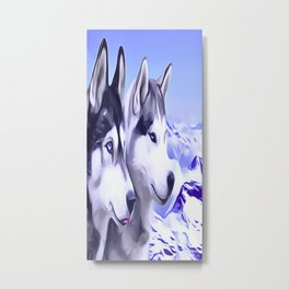 2 Siberian Huskies Metal Print