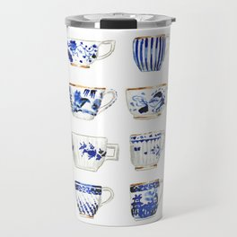 Blue and White China Teacups Travel Mug