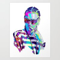 riff raff Art Prints featuring RIFF RAFF // NEXTGEN RAPPERS by mergedvisible