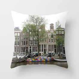 Abstract Amsterdam Boat Art Throw Pillow