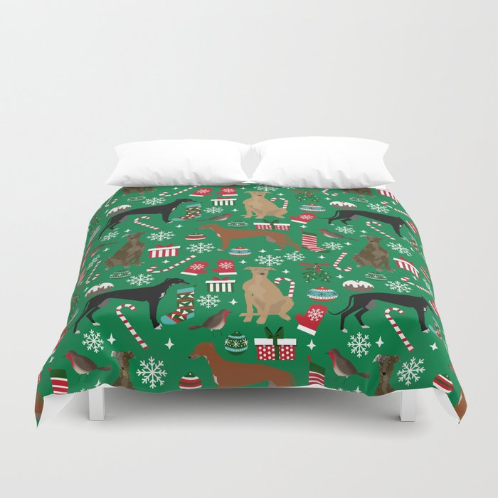 Christmas Greyhound pattern gifts for greyhound rescue dogs must have festive holiday dogs Duvet Cover