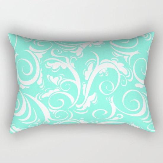 Mint Floral Rectangular Pillow