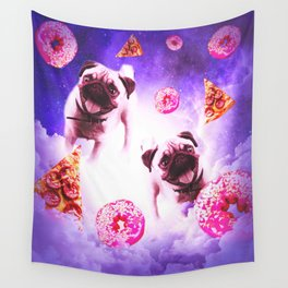 Pugs In The Clouds With Doughnut And Pizza Wall Tapestry