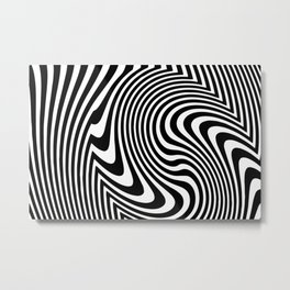 Optical Illusion Op Art Black And White Metal Print