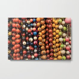 Colorful Strands of Tagua Beads Metal Print