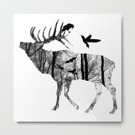Forest Spirit - Black and White Metal Print
