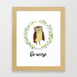 Woodland Creature Animal Tribal Nursery Owl Baby Art Wall Decor Print Be Clever Wreath Watercolor Framed Art Print