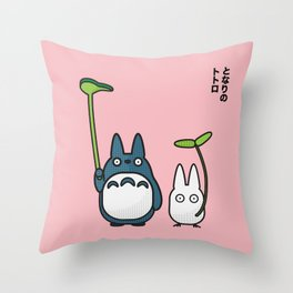 Chu & Chibi Totoro Pop art - Pink Version Throw Pillow