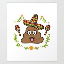 Emoji Poop Cinco De Mayo Funny Art Print