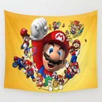 super mario Wall Tapestries featuring super mario  , super mario  games, super mario  blanket, super mario  duvet cover, super mario  show by ira gora
