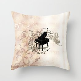 Music, piano with key notes and clef Throw Pillow