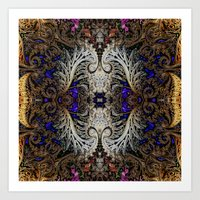 ornate elephant Art Prints featuring Ornate by RingWaveArt