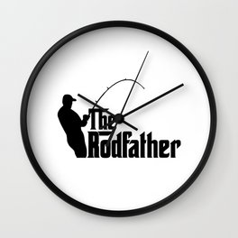 THE RODFATHER FUNNY FISHING Wall Clock
