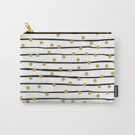 Modern black and gold hand drawn stripes dots pattern Carry-All Pouch