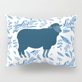Sheep on floral pattern Pillow Sham