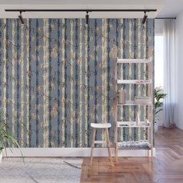 Bamboo Forest Pattern - Blue Rust Cream Wall Mural