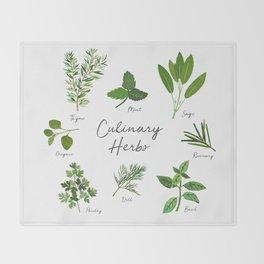 Culinary Herbs Throw Blanket