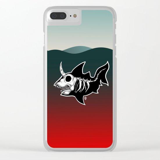 Dark Unicorn Shark Skeleton Clear iPhone Case