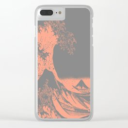 The Great Wave Peach & Gray Clear iPhone Case