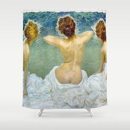 Giovinezza, Portrait of Three Women by Giorgio Kienerk Shower Curtain