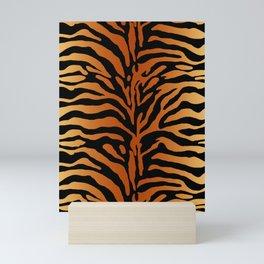Tiger Stripes Animal Print in Rust Brown, Amber, Black and Tan Mini Art Print