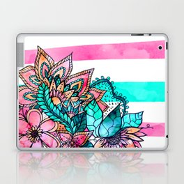 Floral watercolor modern pink teal stripes Laptop & iPad Skin