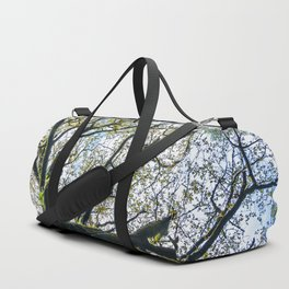 Centenary oak with the trunk covered in moss and green plants Duffle Bag