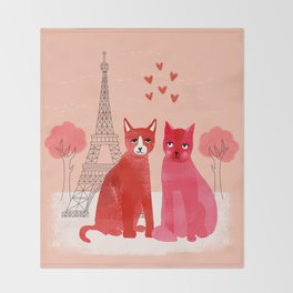 You're Purrfect - Two Cats in Paris Valentines Design featuring pink cats Throw Blanket