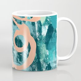 018.2: a bright contemporary abstract design in teal and peach by Alyssa Hamilton Art  Coffee Mug