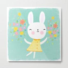 Dancing Garden Bunny Metal Print