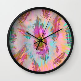 Pink and Turquoise Feathers Wall Clock